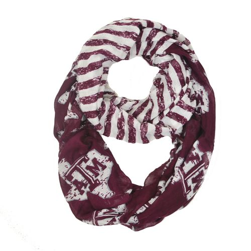 ZooZatz Women's Texas A&M University Stripe Infinity Scarf