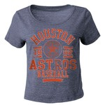 5th & Ocean Clothing Juniors' Houston Astros Triblend Crop Top