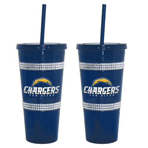 Boelter Brands San Diego Chargers 22 oz. Bling Straw Tumblers 2-Pack