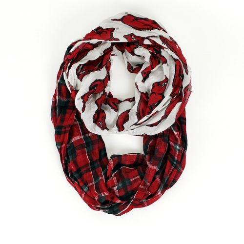 ZooZatz Women's University of Arkansas Tartan Infinity Scarf