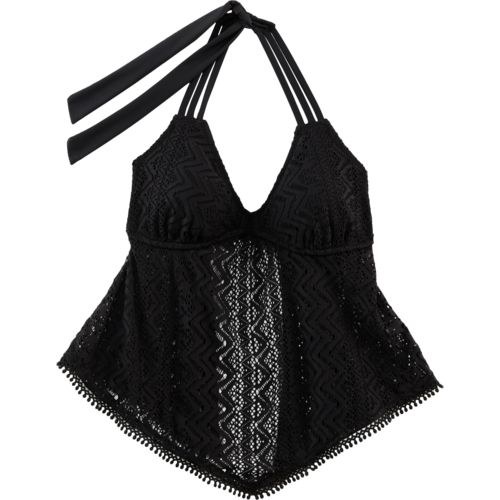 O'Rageous Juniors' Crochet Flounce Tankini Swim Top