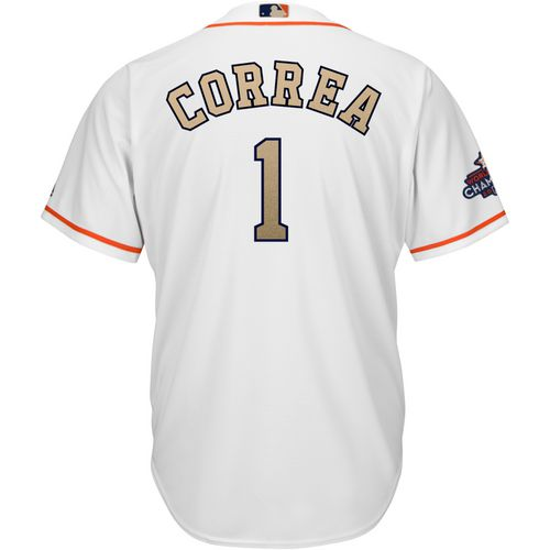 Majestic Adults' Houston Astros Carlos Correa 1 Gold COOL BASE Jersey