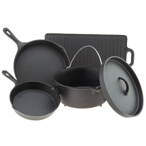 Display product reviews for Outdoor Gourmet 5-Piece Cast-Iron Cookware Set