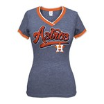 5th & Ocean Clothing Juniors' Houston Astros Triblend Short Sleeve V-neck T-shirt