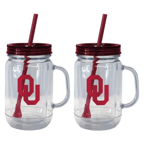 Boelter Brands University of Oklahoma 20 oz. Handled Straw Tumblers 2-Pack