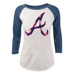 5th & Ocean Clothing Juniors' Atlanta Braves Floral Raglan T-shirt