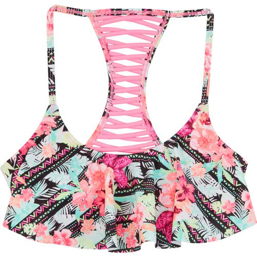 O'Rageous Juniors' Trop Hop Flounce Swim Top