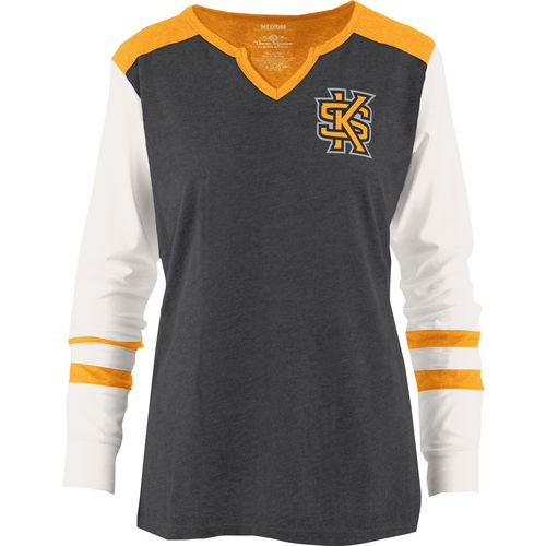 Three Squared Juniors' Kennesaw State University Mia Raglan Long Sleeve Henley Shirt
