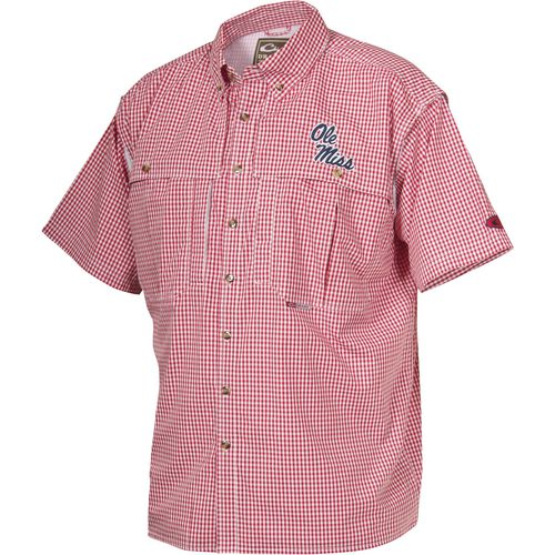 Drake Waterfowl Men's University of Mississippi Gameday Wingshooter's Short Sleeve Button-Do