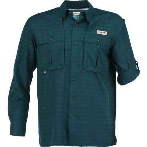 Magellan Outdoors Men's Aransas Pass Tonal Plaid Long Sleeve Shirt
