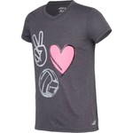BCG Girls' Turbo Peace Love Volleyball Graphic Short Sleeve T-shirt - view number 3