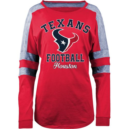 5th & Ocean Clothing Women's Houston Texans Space Dye Long Sleeve Fan Top