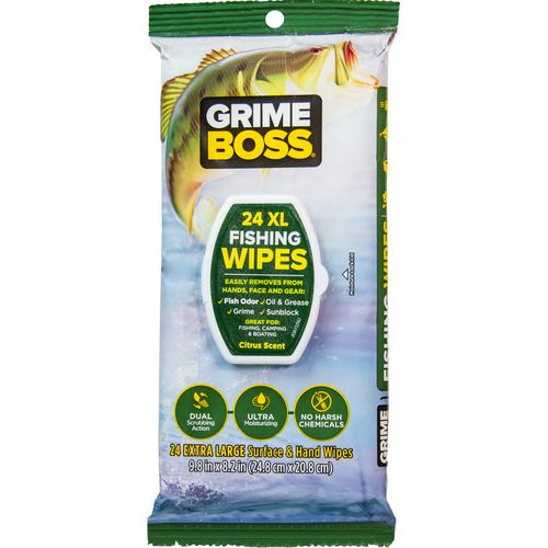 Display product reviews for Grime Boss Fishing Wipes