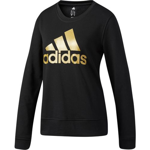 adidas Women's Badge of Sport Glitter Fleece Crew Long Sleeve T-shirt