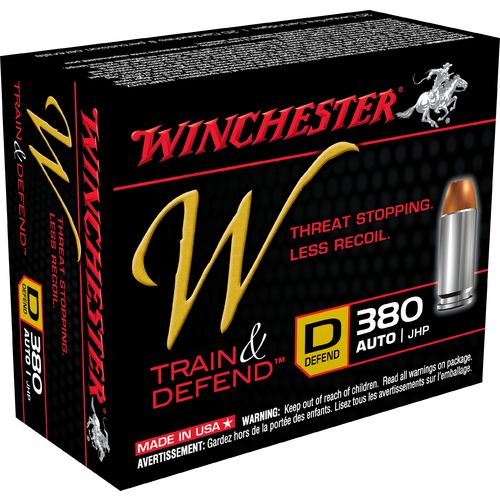 Winchester Train and Defend .380 Auto 95-Grain Centerfire JHP Pistol Ammunition