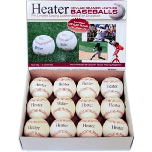 Heater Sports Kevlar®-Seamed Leather Pitching Machine Baseballs 12-Pack