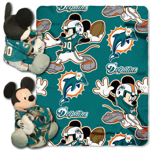 The Northwest Company Miami Dolphins Mickey Mouse Hugger and Fleece Throw Set