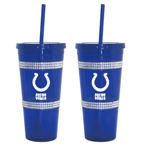 Boelter Brands Indianapolis Colts 22 oz. Bling Straw Tumblers 2-Pack