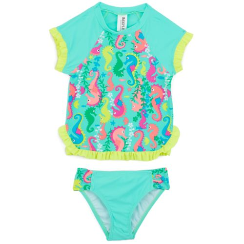 O'Rageous Kids Girls' Seahorse Party 2-Piece Rash Guard Swimsuit