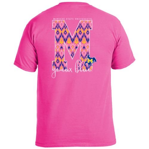 Image One Women's McNeese State University Ikat Letter Script T-shirt