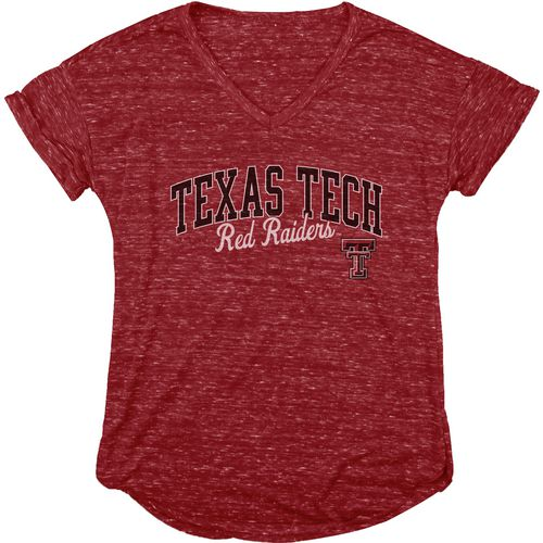 Blue 84 Women's Texas Tech University Dark Confetti V-neck T-shirt