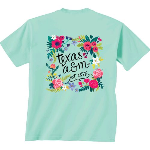 New World Graphics Women's Texas A&M University Comfort Color Circle Flowers T-shirt