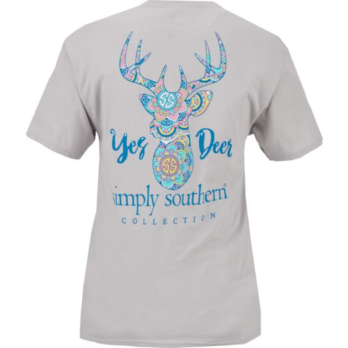 Simply Southern Women's Yes Deer Short Sleeve T-shirt
