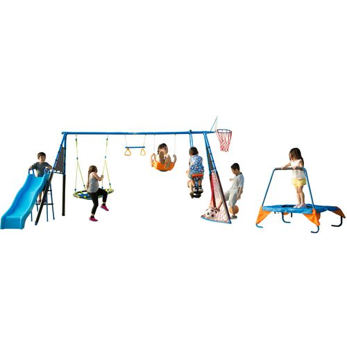 Fitness Reality The Ultimate 8-Station Sports Swing Set with Basketball Hoop and Soccer Goal